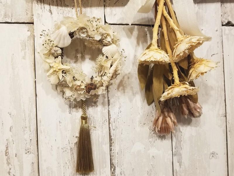 ホワイト紫陽花の貝殻ミニリース☆初心者さんやお友達同士の参加大歓迎の画像