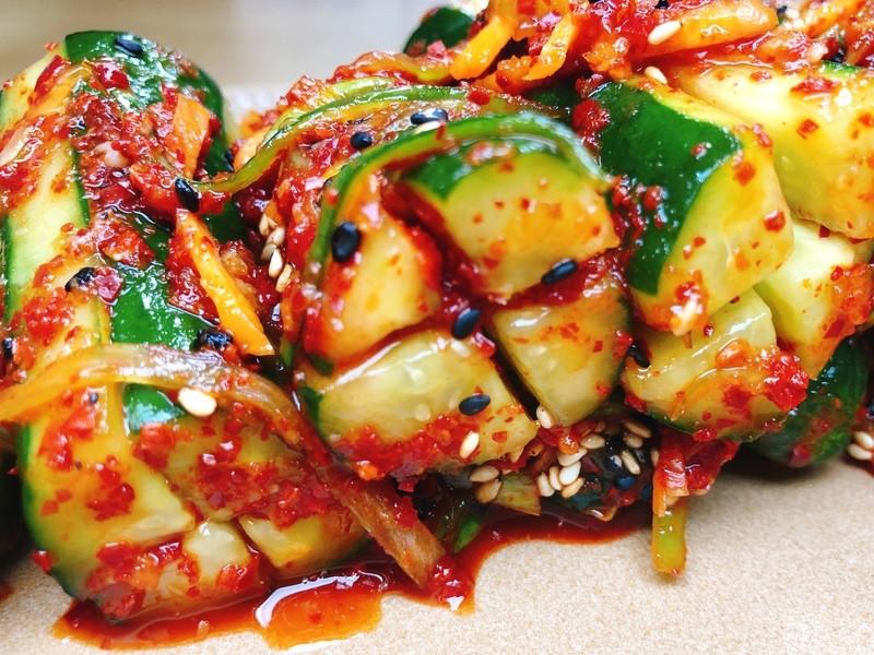 胃腸に優しい♡カルビタン&きゅうりキムチ&もっちり海鮮ニラチヂミの画像