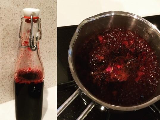ローズ香る真っ赤な美肌ハーブコーディアル作り♪ハーブでおうちカフェの画像