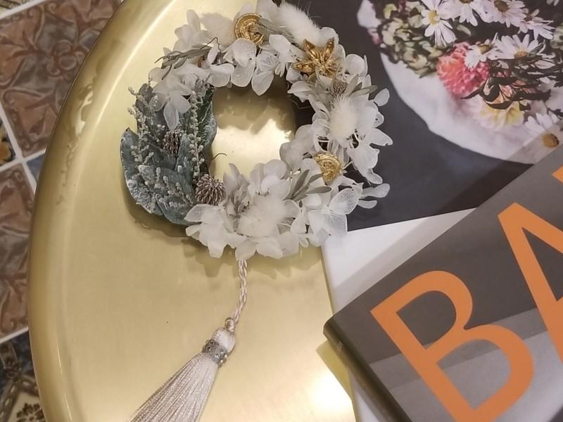 初めてさん大歓迎!ホワイト紫陽花のミニリース☆ウェディングリースの画像