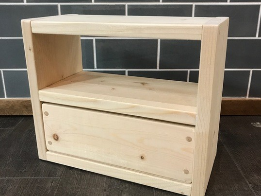 【木工初心者向け】卓上サイズの小さな家具~引き出し付きミニシェルフの画像