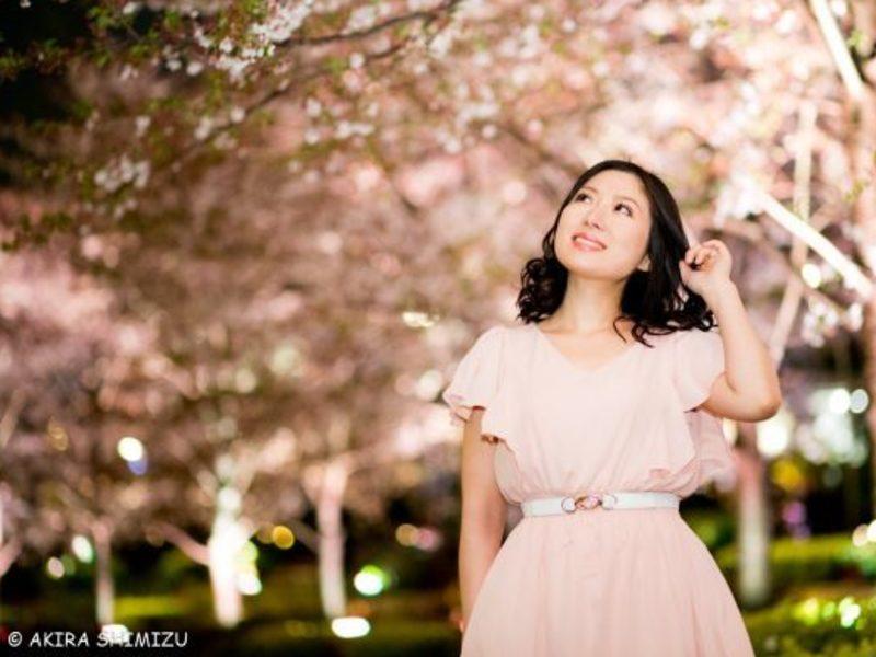 夜景(桜ライトアップ:この時期だけ☆)ポートレートの画像