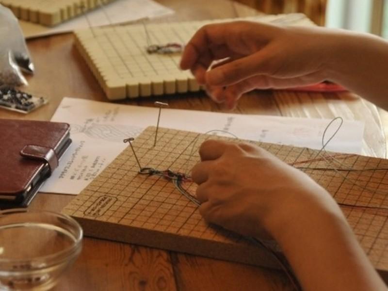 国分寺・編み物 マクラメ編み・ひし形トップと簡単包編みの画像