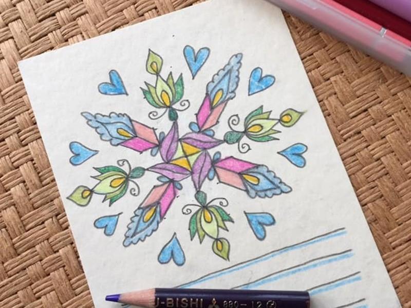 点と線での色鉛筆クラスの画像