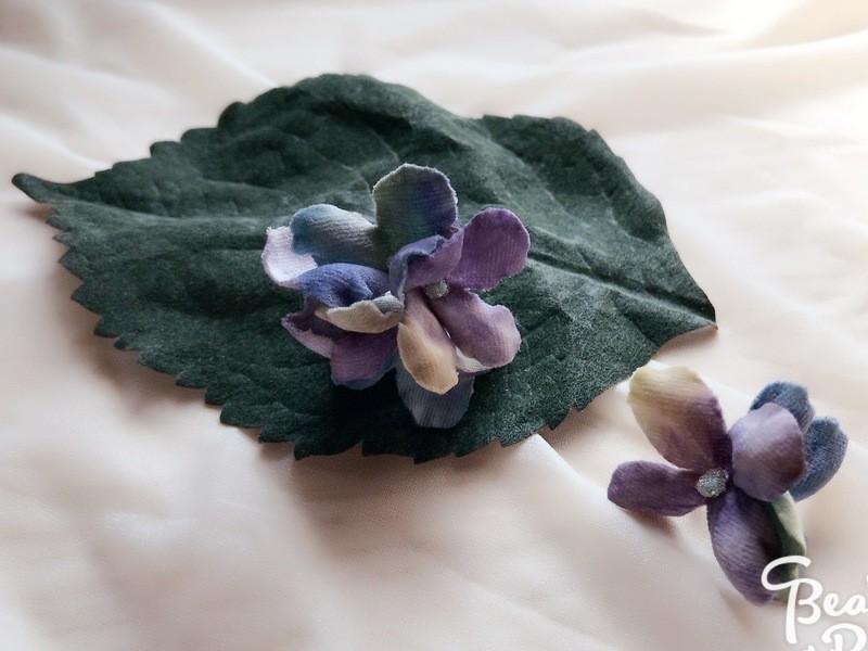 《布花》梅雨色紫陽花の布花アクセサリーの画像