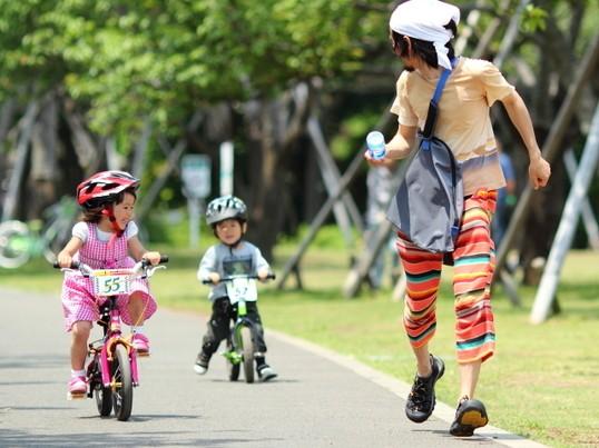新緑の公園で子供と一緒に写真を撮ろう!の画像