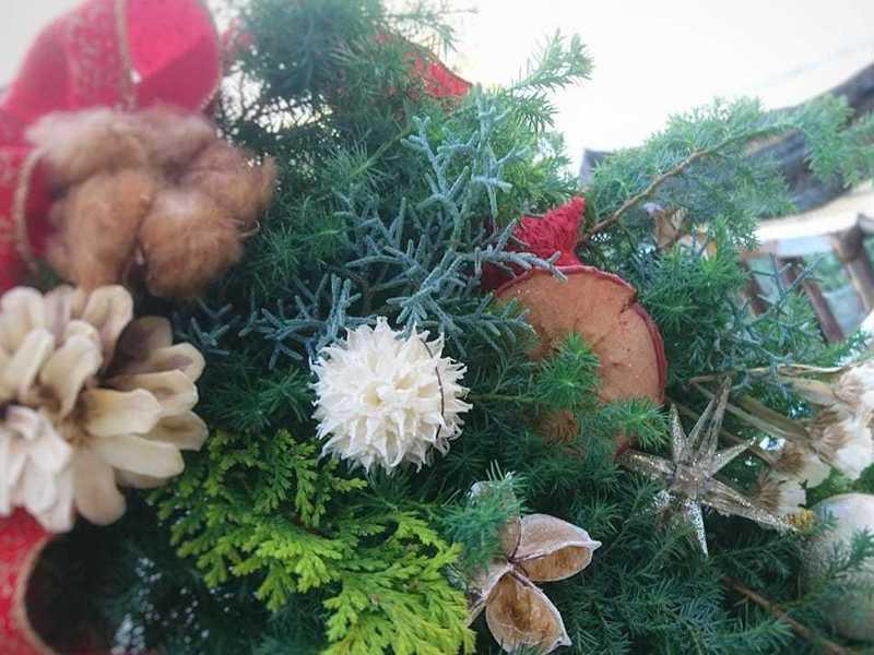 フレッシュ素材で作るクリスマススワッグの1dayレッスン!の画像