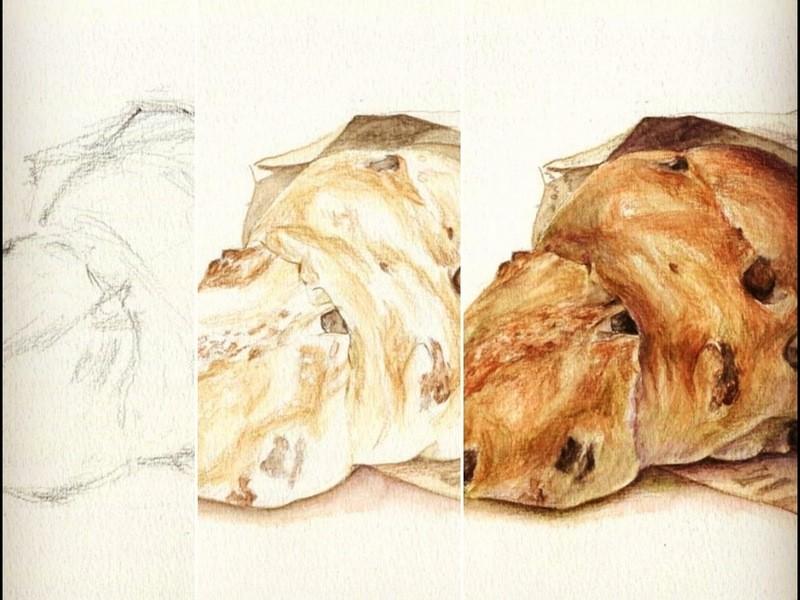 1DAYアート講座・水彩色鉛筆でパンを描こう!の画像