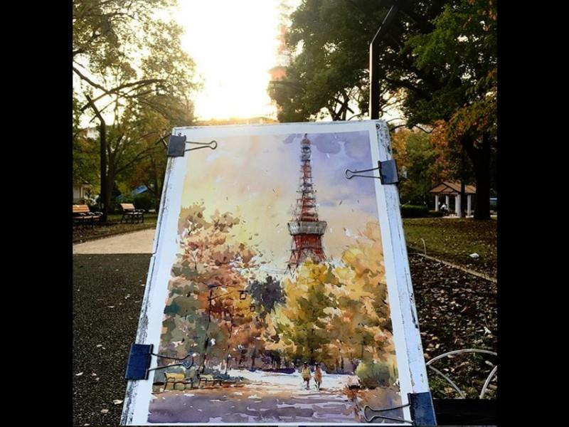街の景色を水彩画で描きましょう  水彩画家 戸田義人の画像