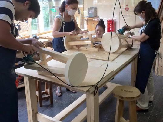 はじめての女性でもできる!木工講座★丸スツール@二子玉川の画像