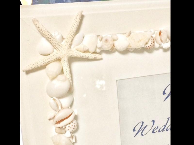 小粒な貝のウェルカムボードの画像