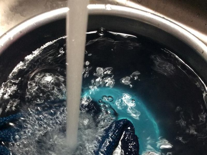摘みたて藍の生葉と本藍蒅(すくも)でシルクor手拭いを染めよう!の画像