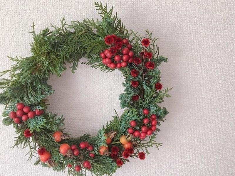 初心者さん大歓迎!フレッシュグリーンで作るクリスマスリースの画像
