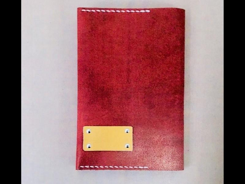 【レザークラフト】手縫いのレザーブックカバー(スケジュール帳対応)の画像