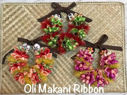 ハワイアンリボンでバックチャーム作り ふわふわOli Makaniの画像