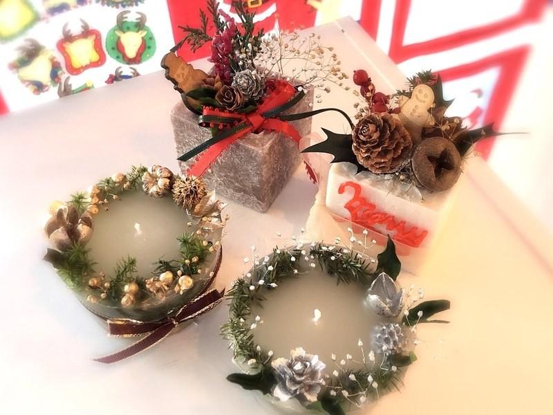クリスマスのアロマBOXサシェ&ミニアロマボタニカルキャンドル作りの画像