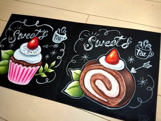 カフェ看板みたいなチョークアート!おしゃれなスイーツが描けます♪の画像