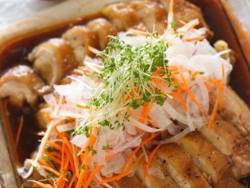 20分で晩ご飯/鶏バリバリ焼き×パラパラ炒飯×カボチャのプリンの画像