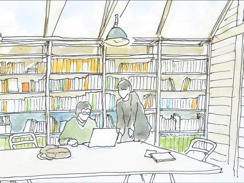 簡単なスケッチパースの描き方講習(ペン画+色鉛筆着彩)の画像