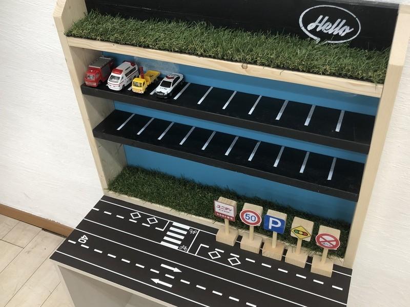 立体駐車場風~ミニカー収納棚DIY教室の画像
