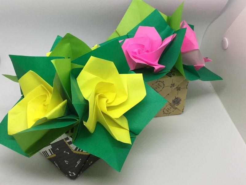 ☆折り紙で作る花束~くま子ローズ~☆オンライン講習会の画像