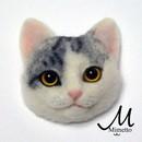 羊毛フェルトの「猫顔ブローチ」体験教室の講座の風景