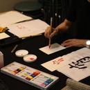 色紙に描く季節の情景アート書道の講座の風景