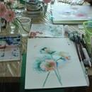 にじみを楽しむ透明水彩画教室の講座の風景