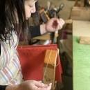 革の文具と手製本 [&B] アトリエワークショップの講座の風景